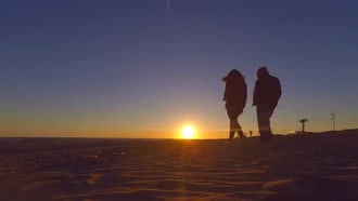 Couple On The Beach During Sunset: Stock Footage