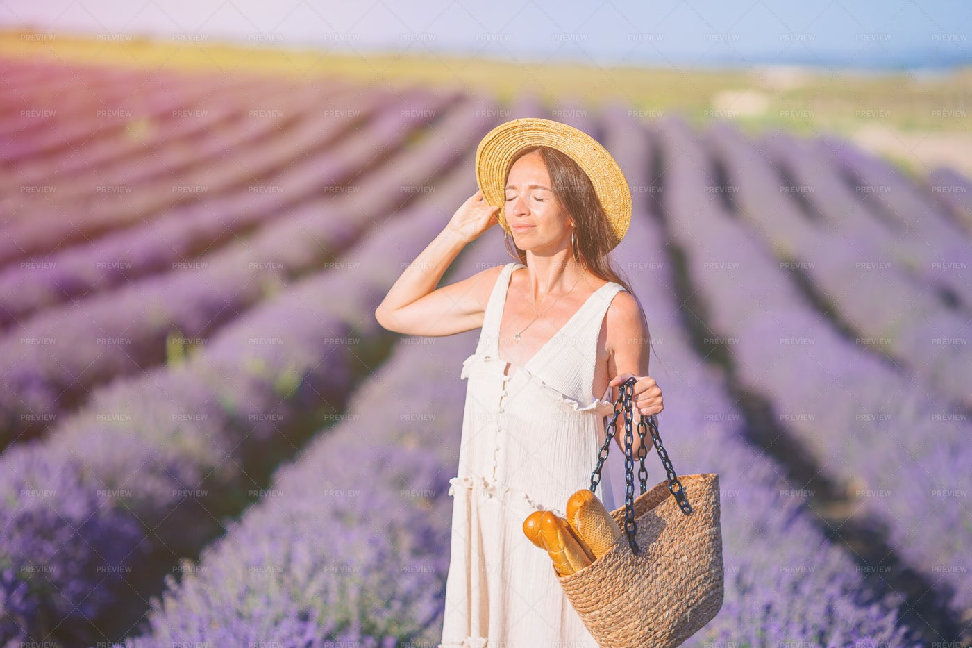 Woman In A Field Of Lavender: Stock Photos