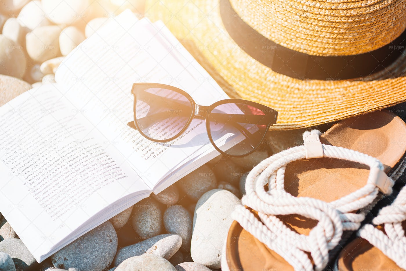 Beach Hat And Book: Stock Photos