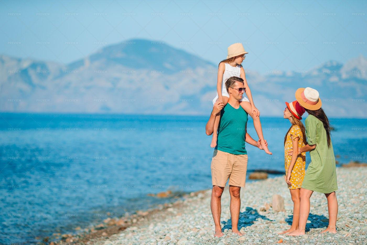 Family On Vacation At The Beach: Stock Photos