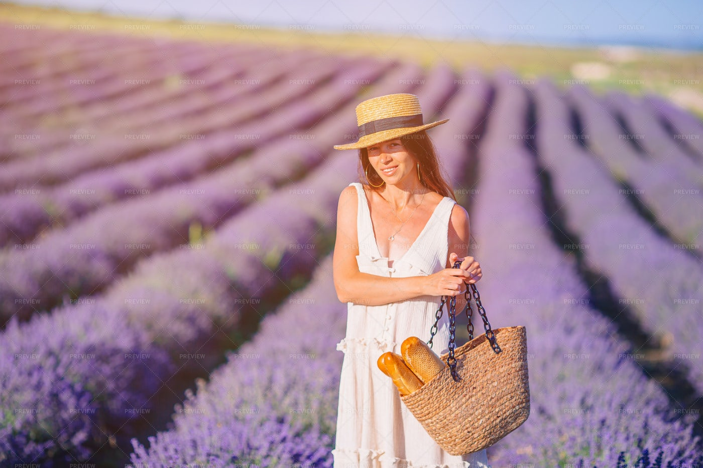 Woman In A Lavender Field: Stock Photos