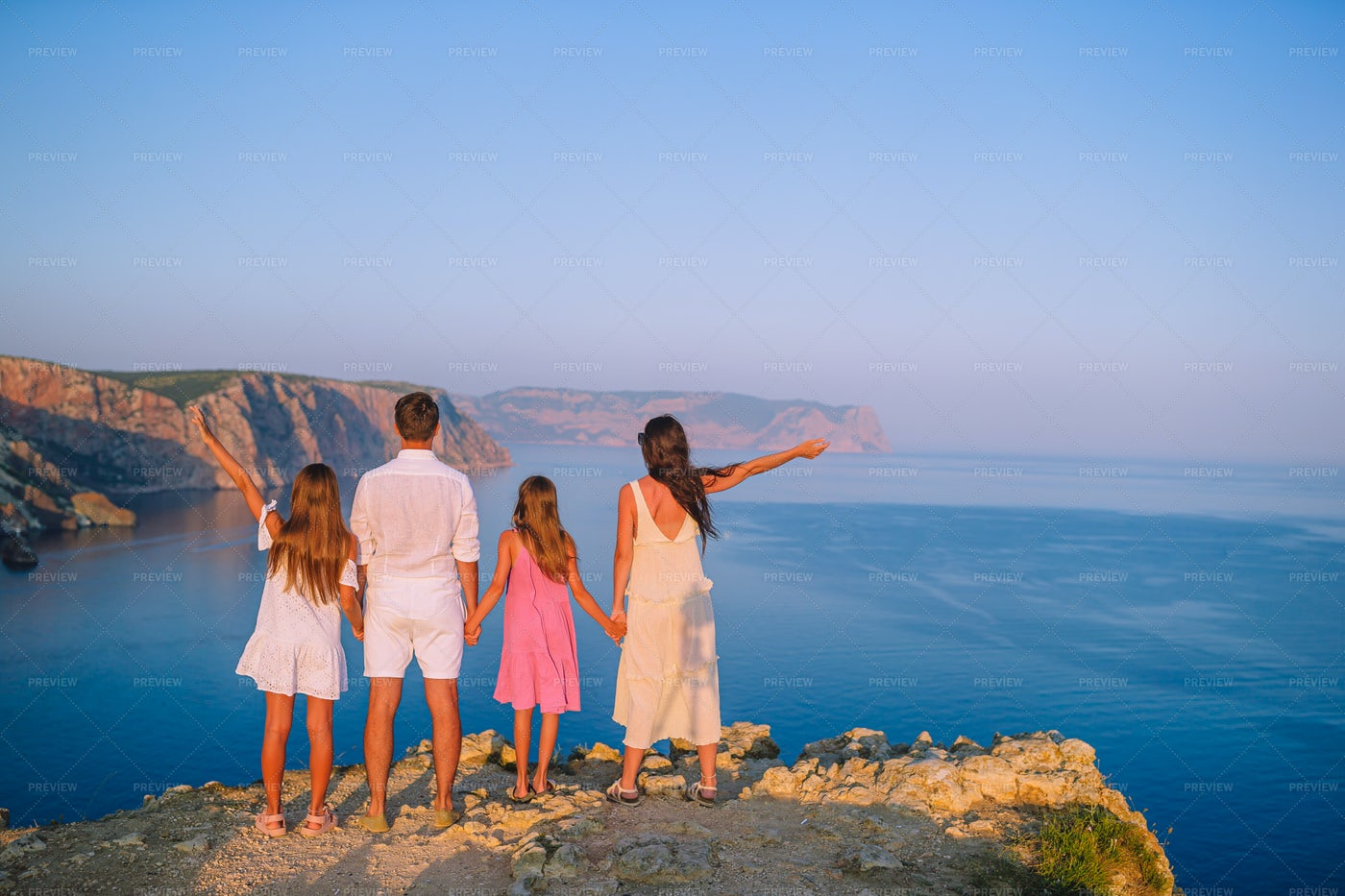 Family At The Cliff: Stock Photos