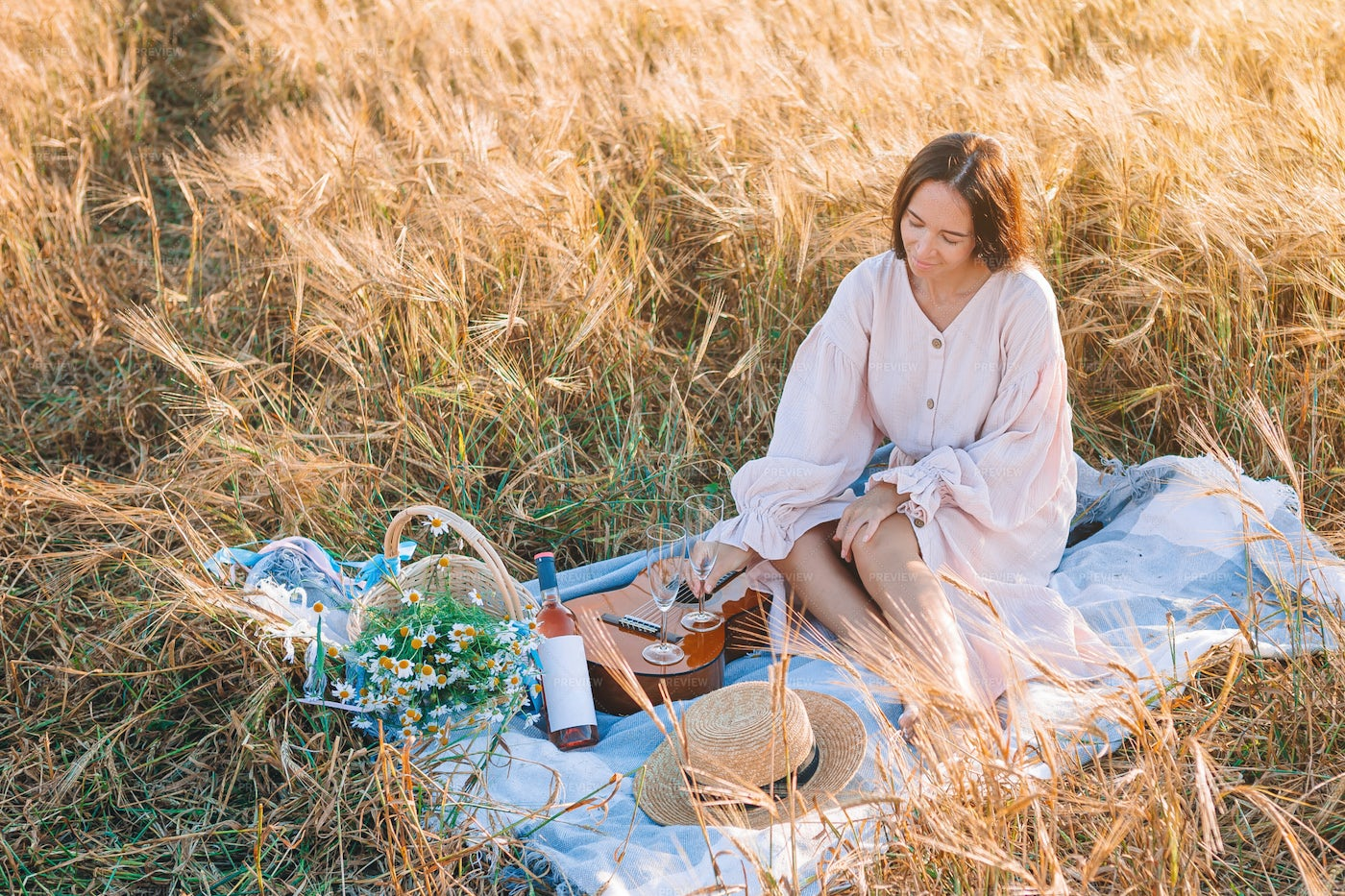 Wheat Field Picnic: Stock Photos