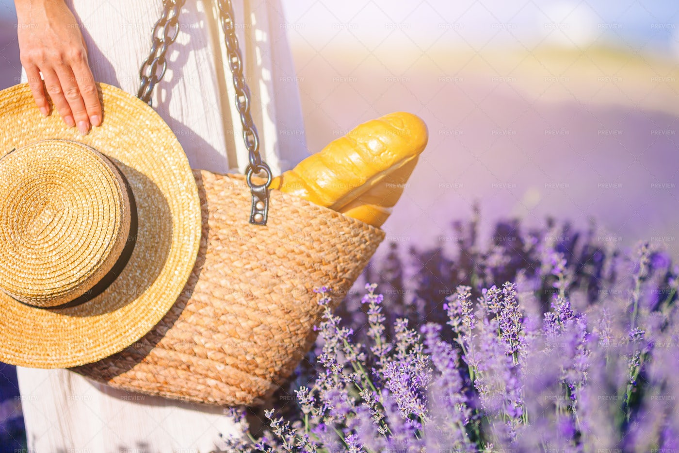 Bag And Hat In The Lavender: Stock Photos