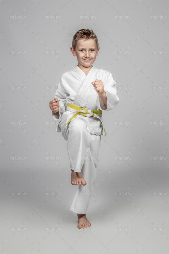 Child Performs A High Knee: Stock Photos