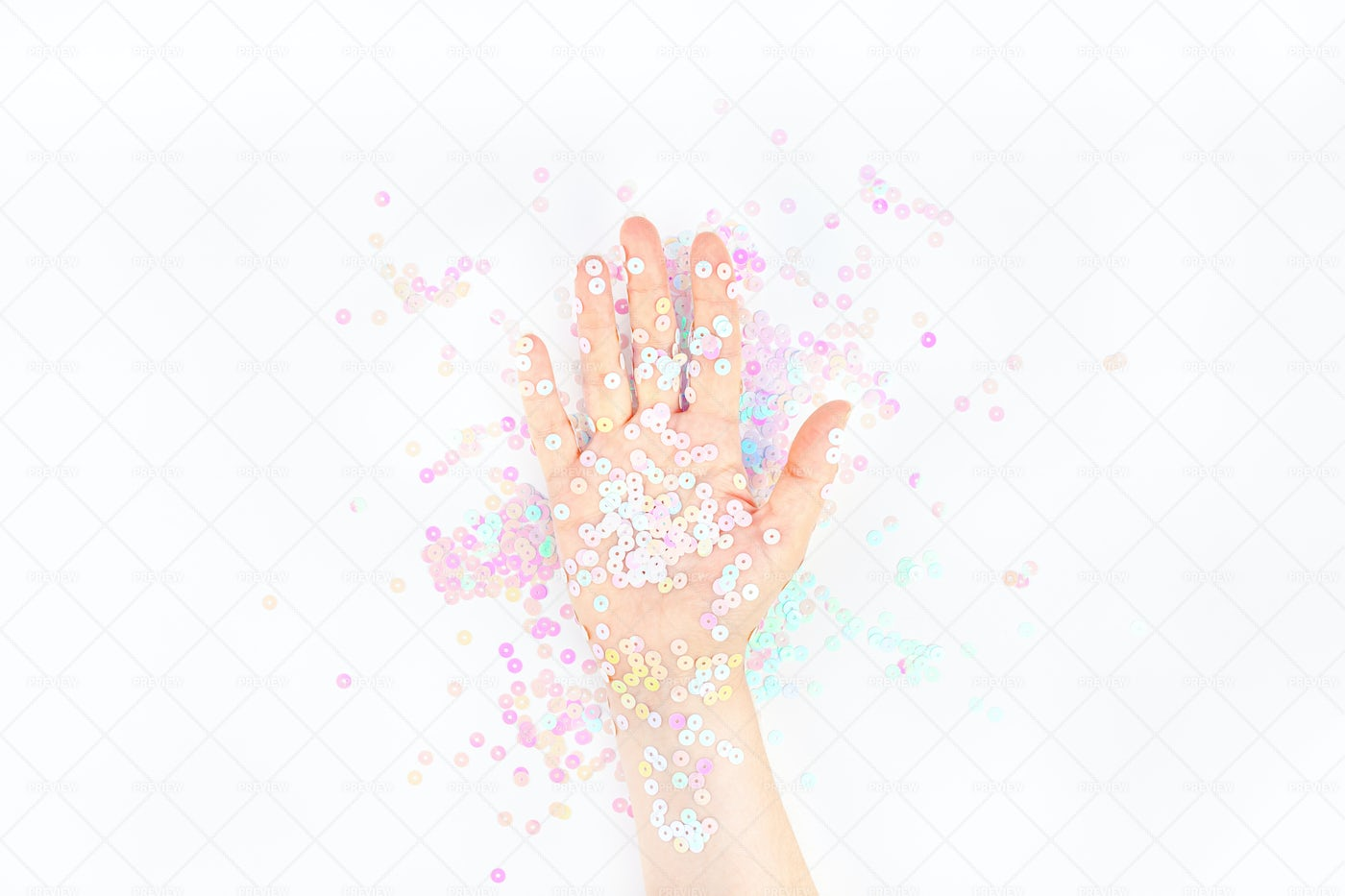 Pastel Confetti In Woman's Hand: Stock Photos