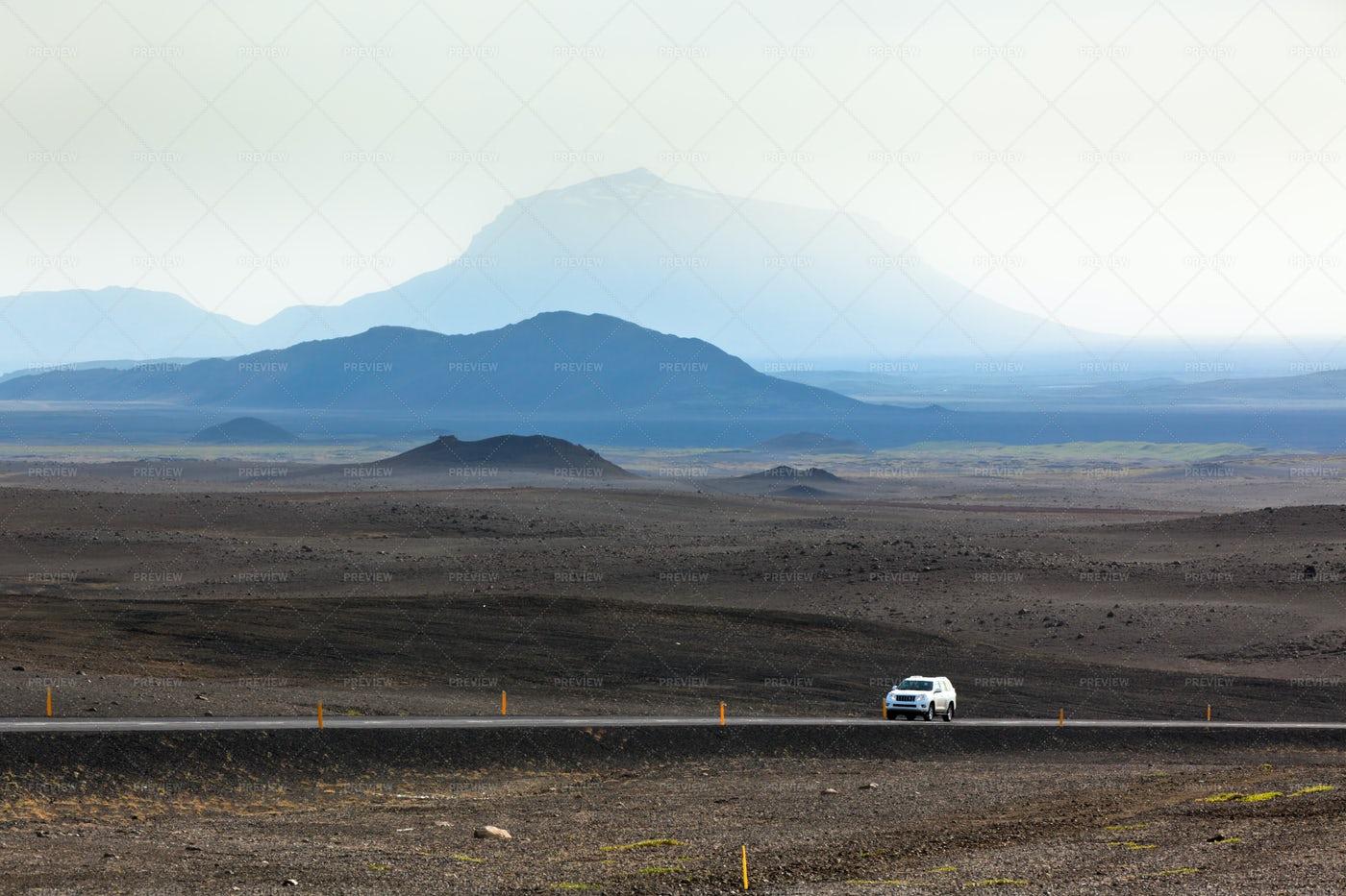 Highway Through Iceland Mountains: Stock Photos