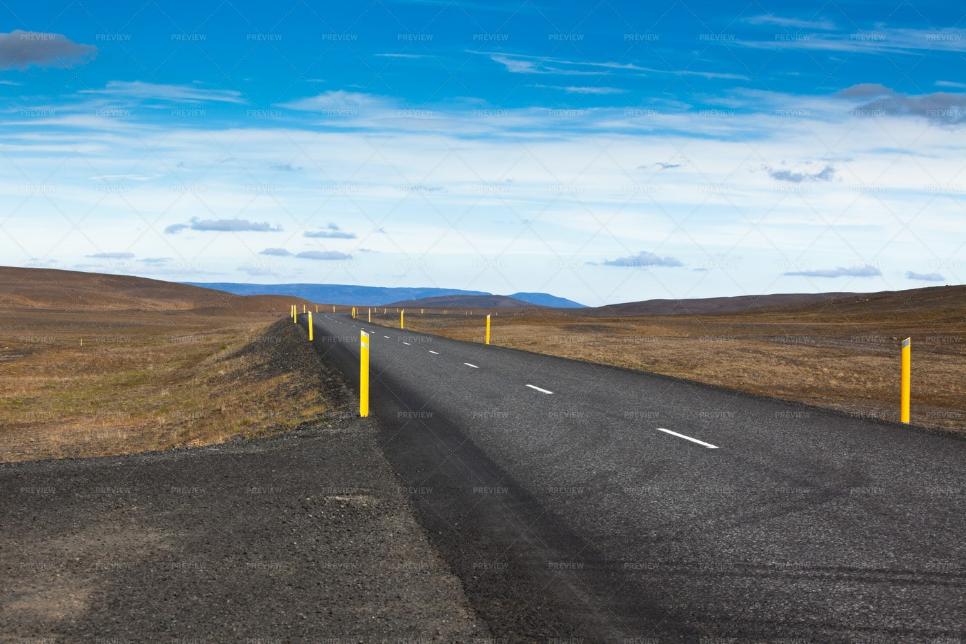 Iceland Highway Through Lava Field: Stock Photos