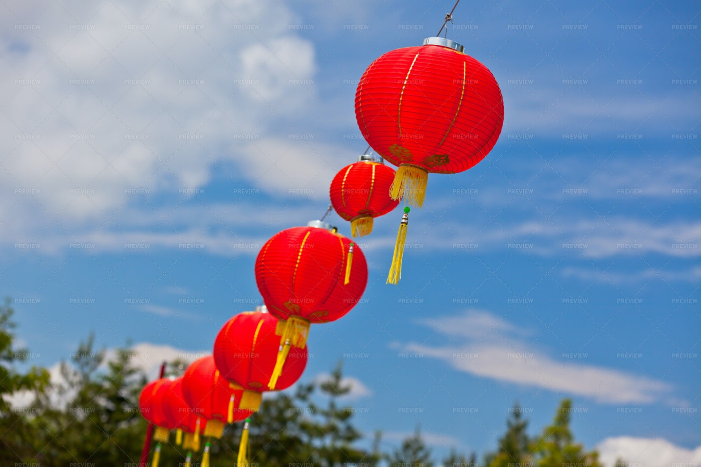 Red Chinese Paper Lanterns: Stock Photos