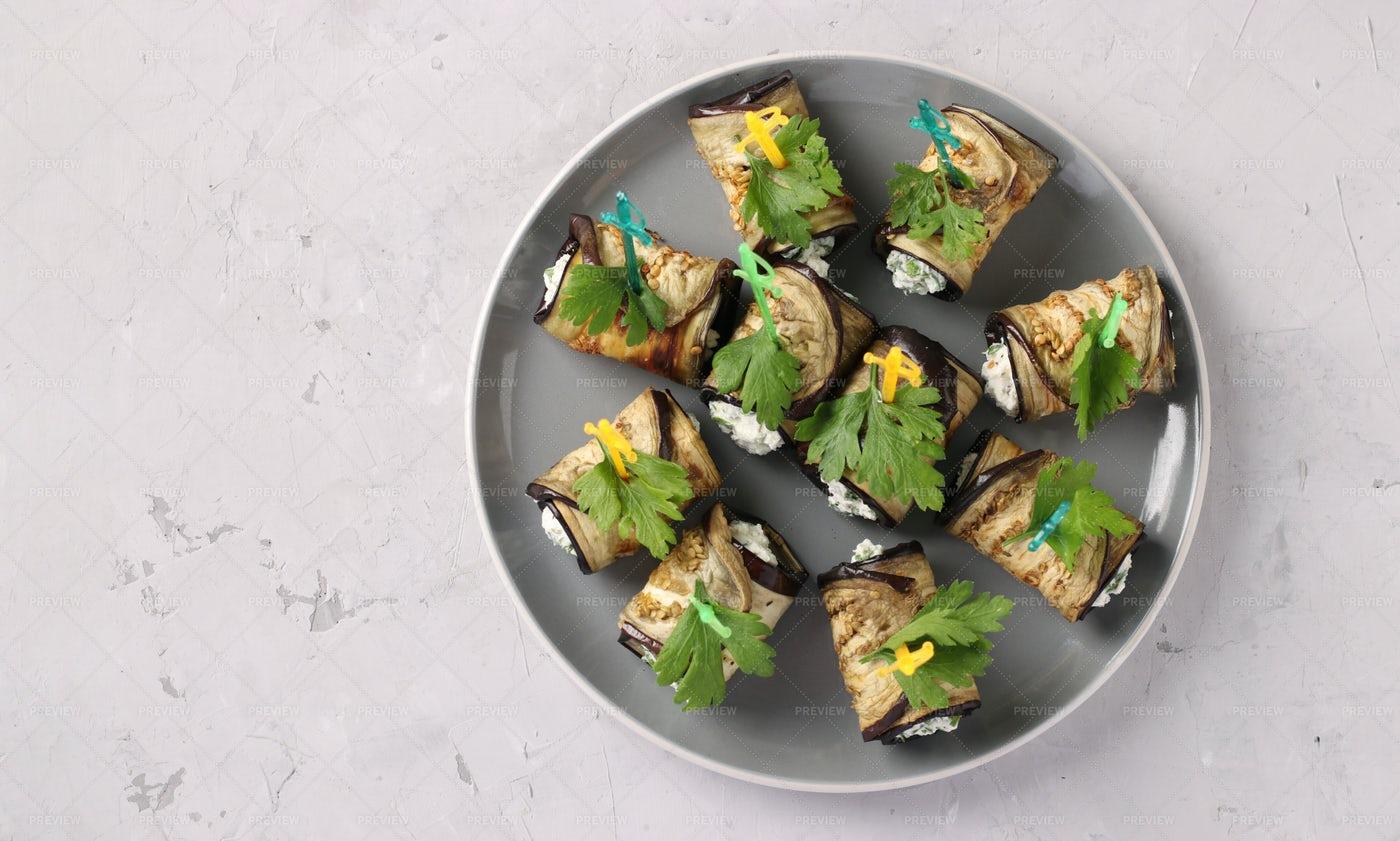 Eggplant Rolls With Cream Cheese: Stock Photos