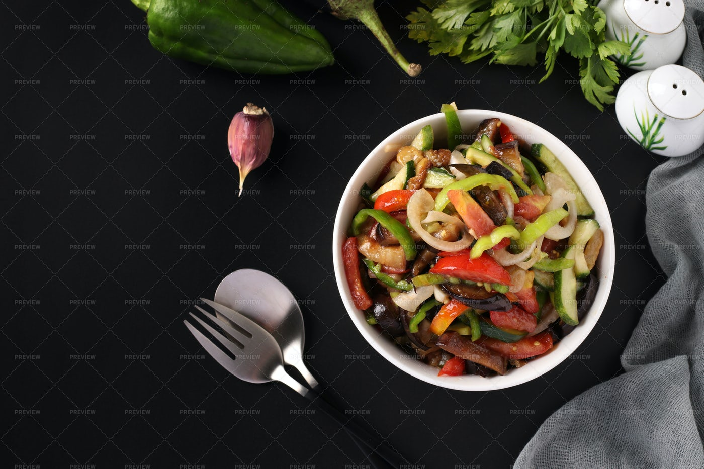 Salad With Eggplant, Tomatoes, Peppers: Stock Photos