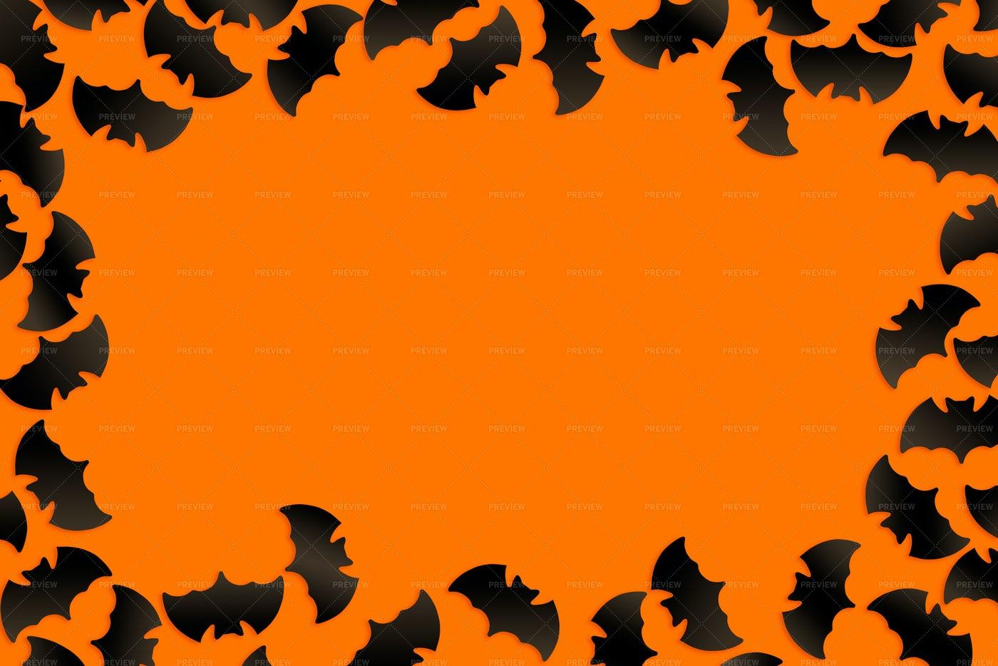 Halloween Bats Frame On Orange: Stock Photos