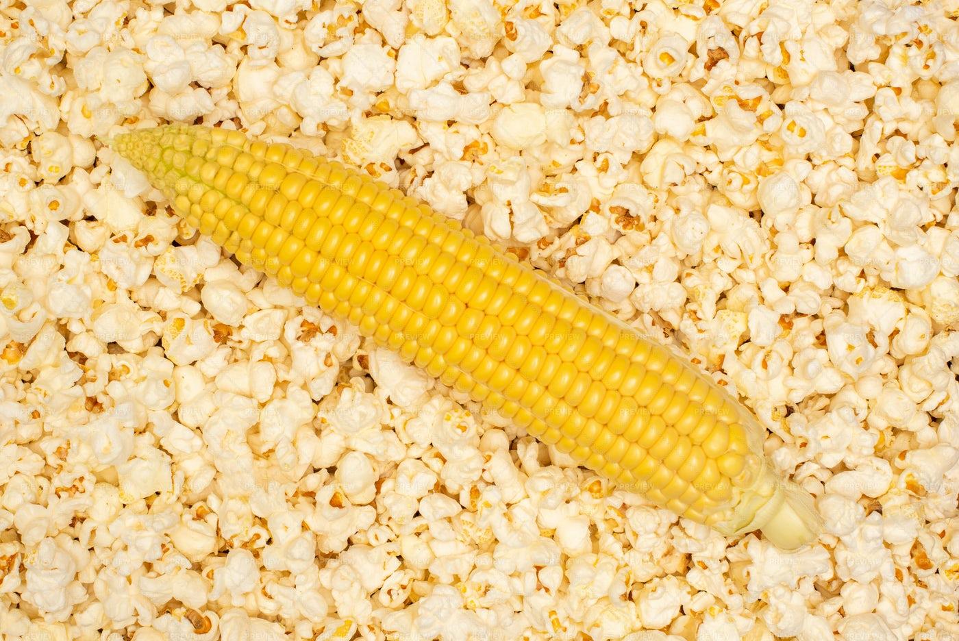 Corn Atop Popcorn: Stock Photos
