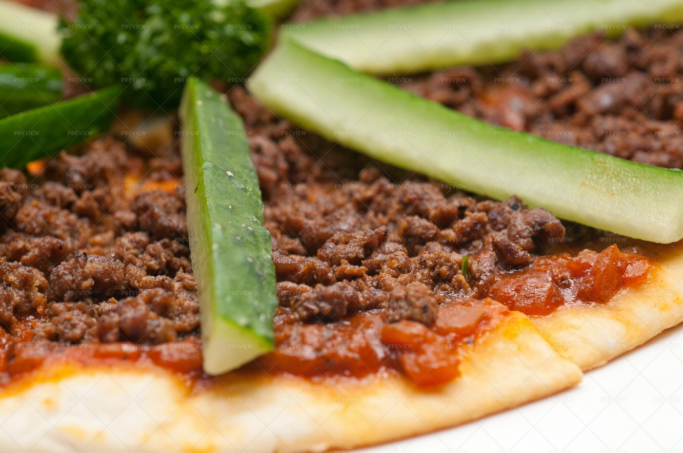 Turkish Beef Pizza With Cucumber: Stock Photos