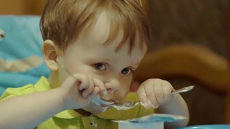 Little Boy Having A Meal : Stock Video