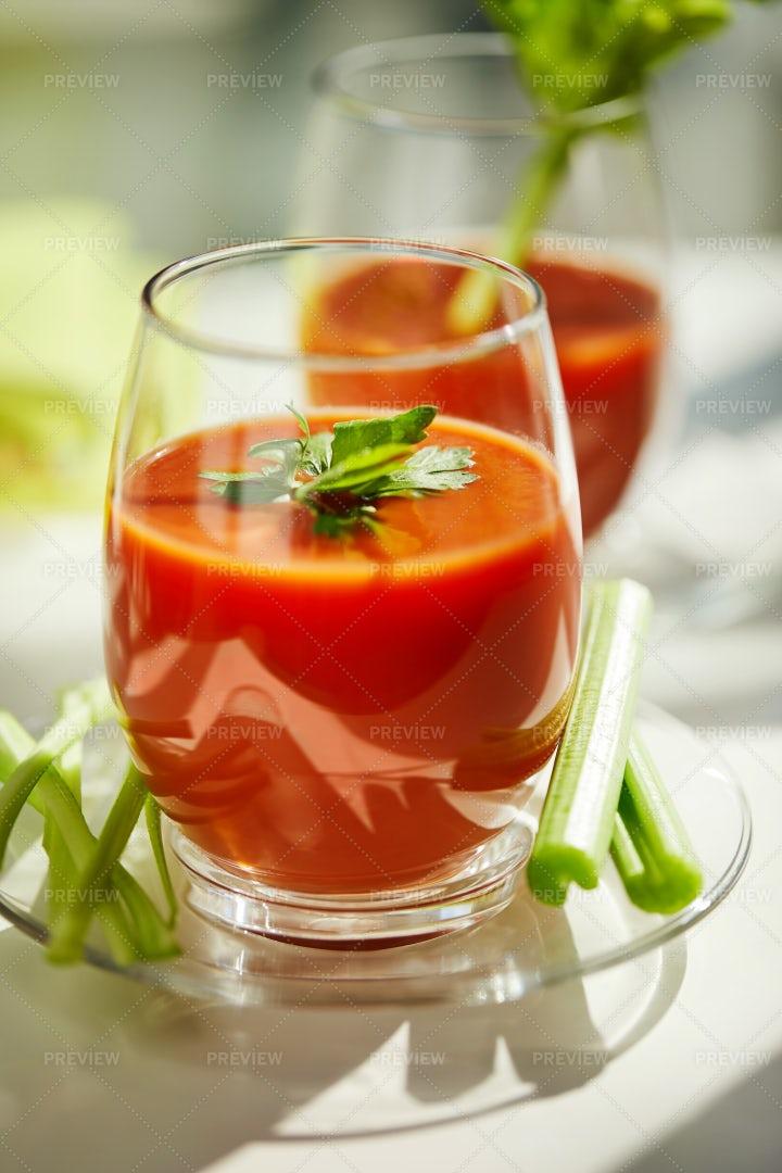 Tomato Juice In Glasses: Stock Photos