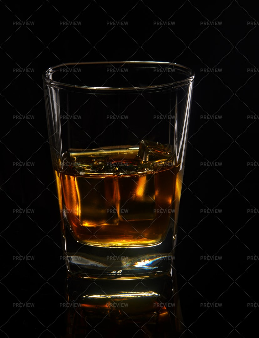 Glass Of Whiskey With Ice: Stock Photos