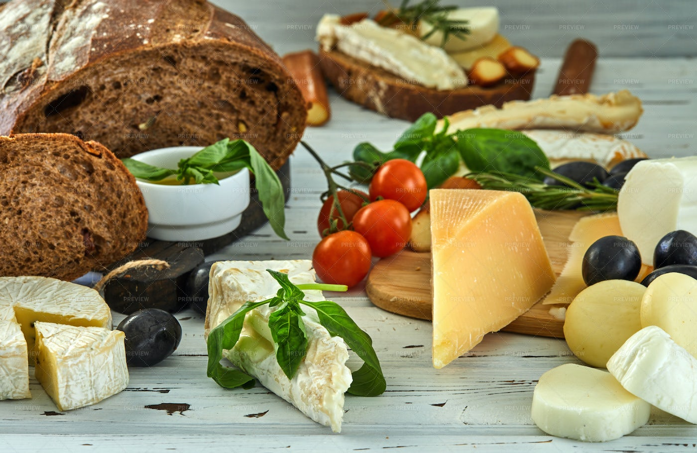 Cheeses, Olives And Bread: Stock Photos