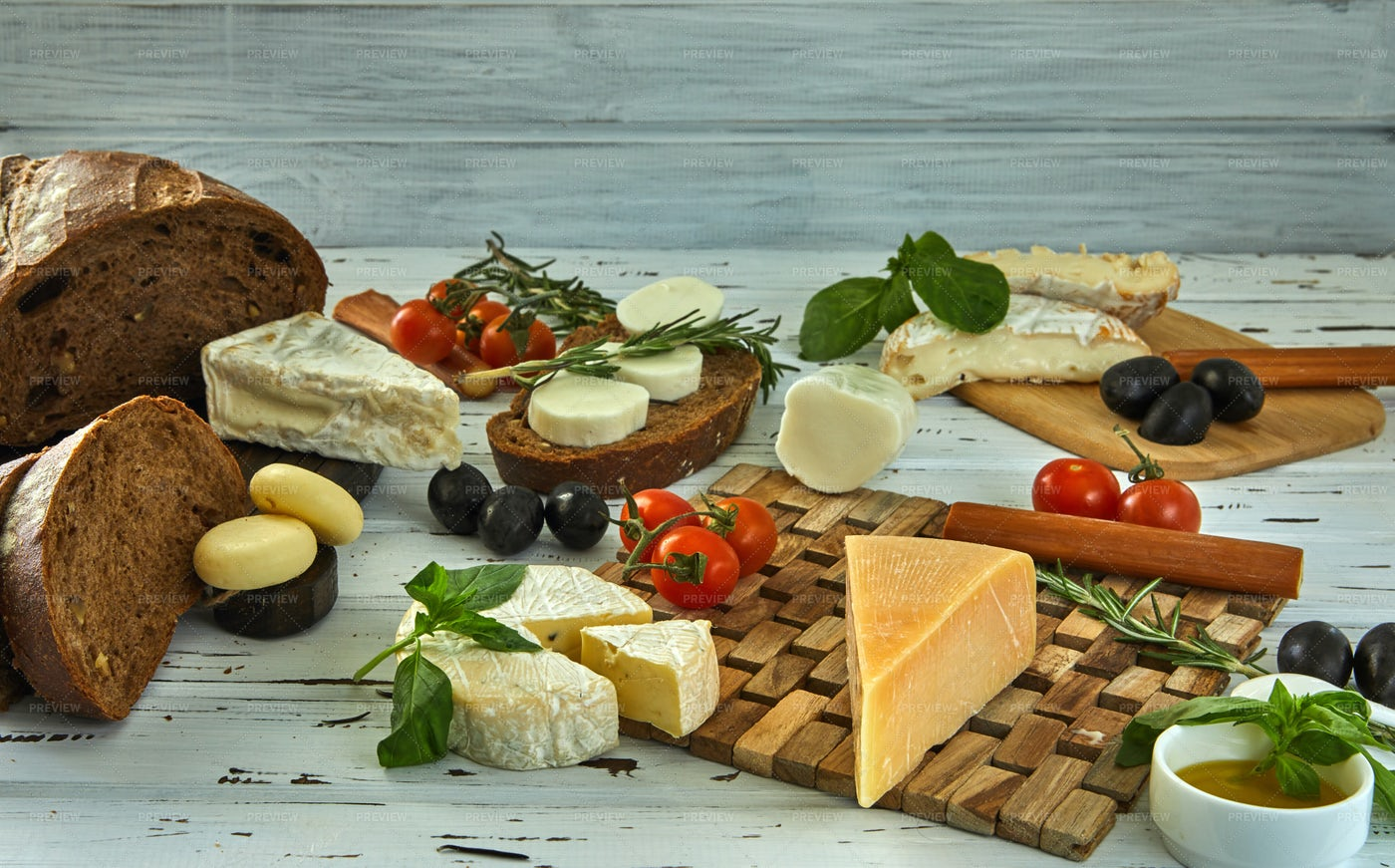 Various Cheeses And Bread: Stock Photos