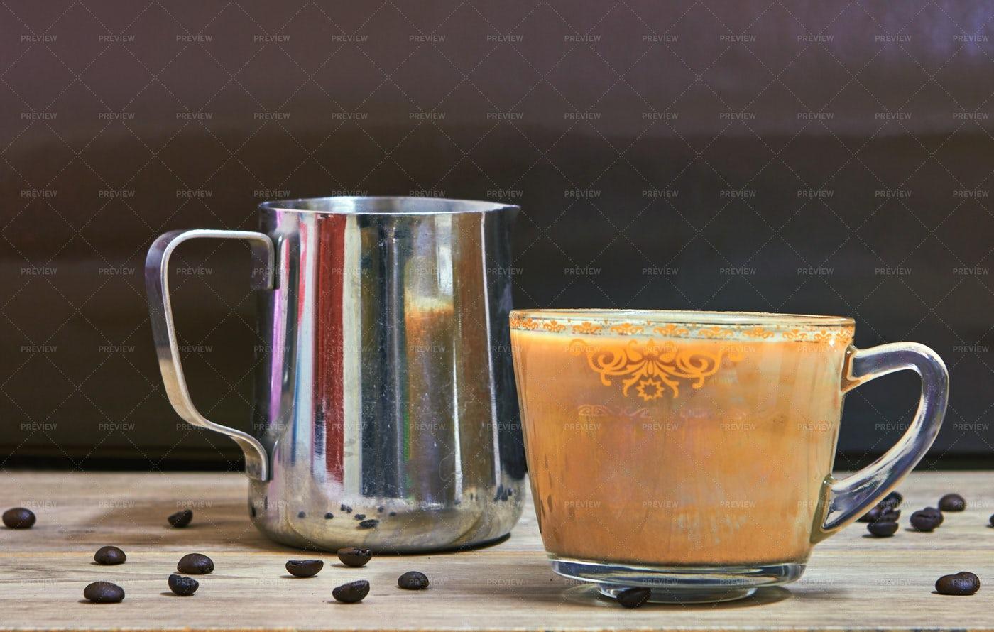 Cappuccino And Jar With Milk: Stock Photos