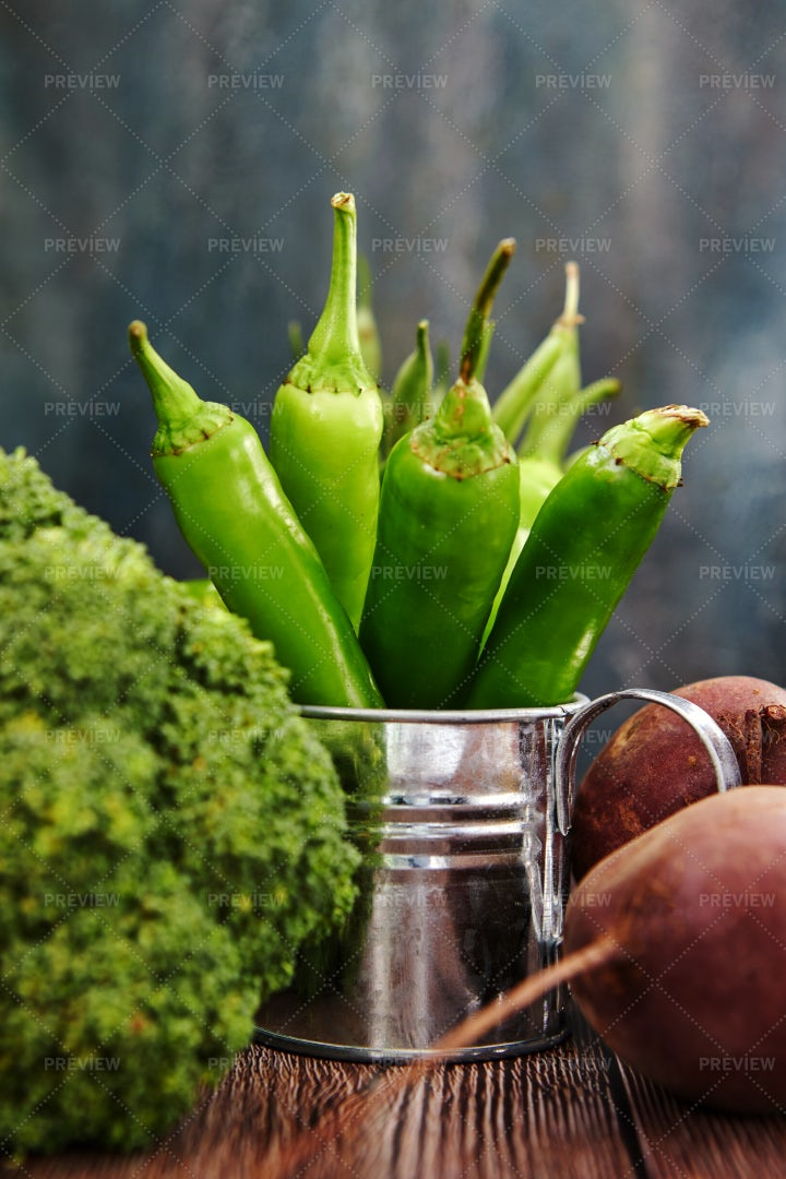 Peppers In A Watering Can: Stock Photos