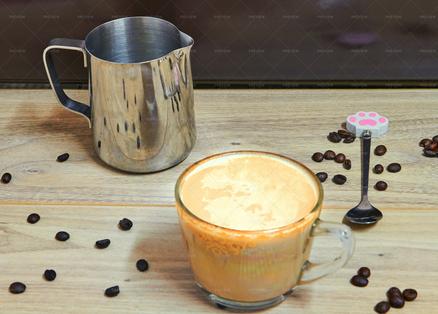 Cappuccino And Metal Jar: Stock Photos