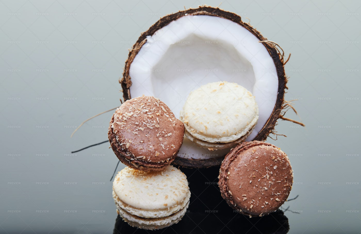 Coconut With Macaroons: Stock Photos