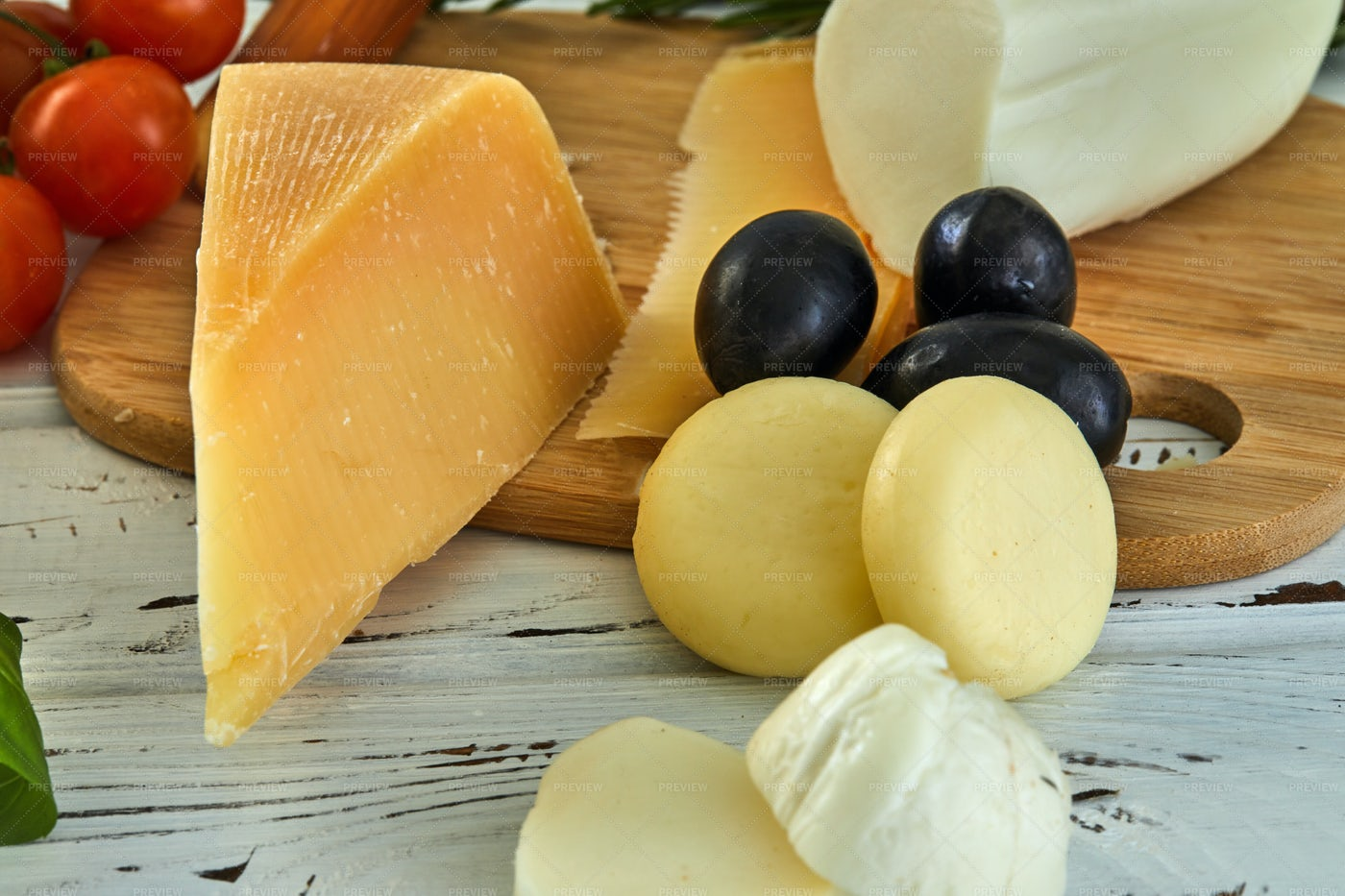 Cheeses And Olives: Stock Photos