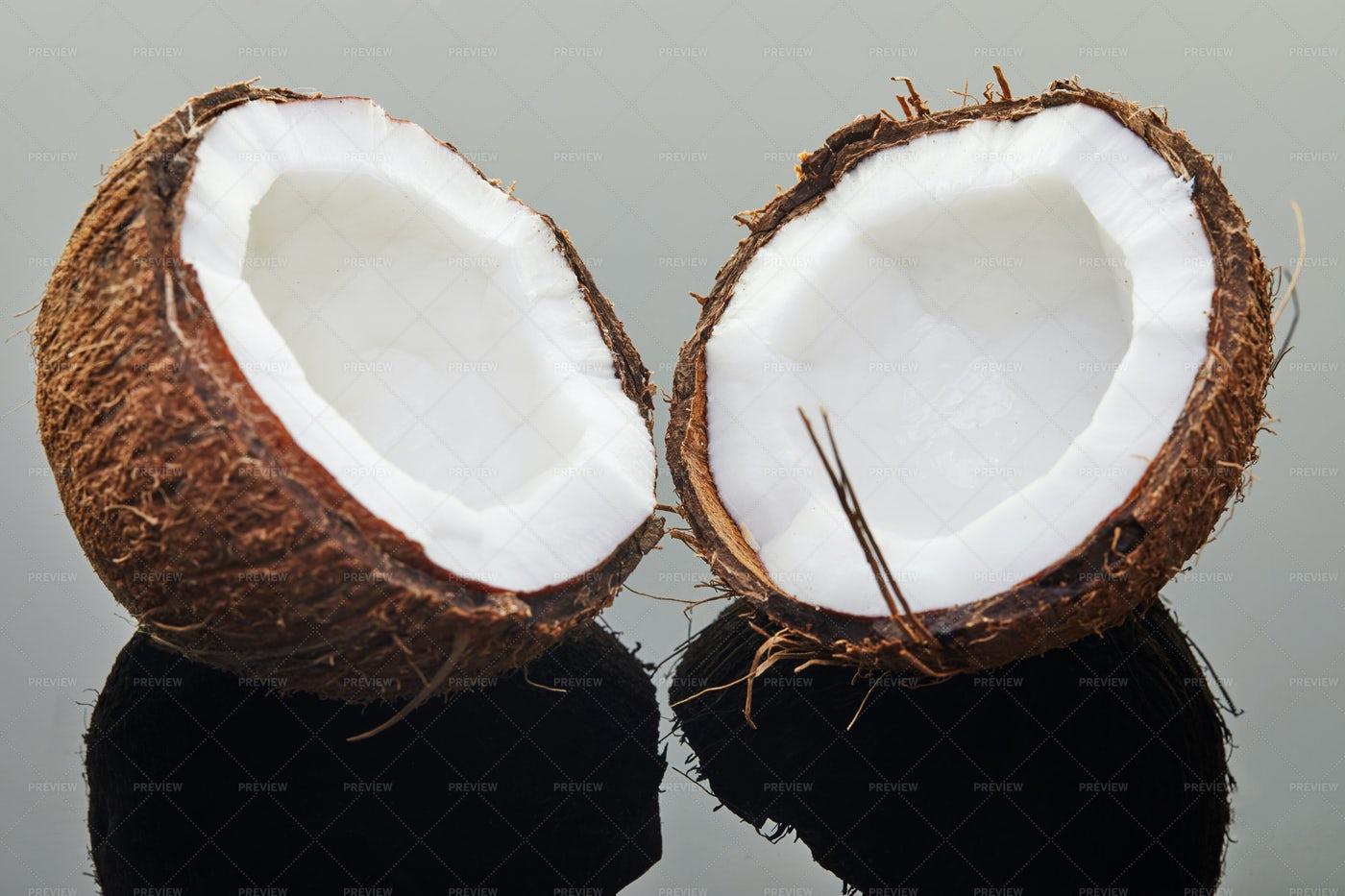 A Halved Coconut: Stock Photos