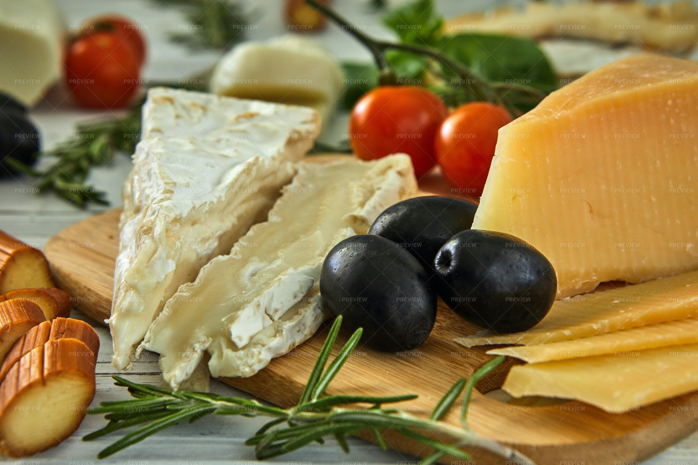 Delicious Cheeses On A Table: Stock Photos