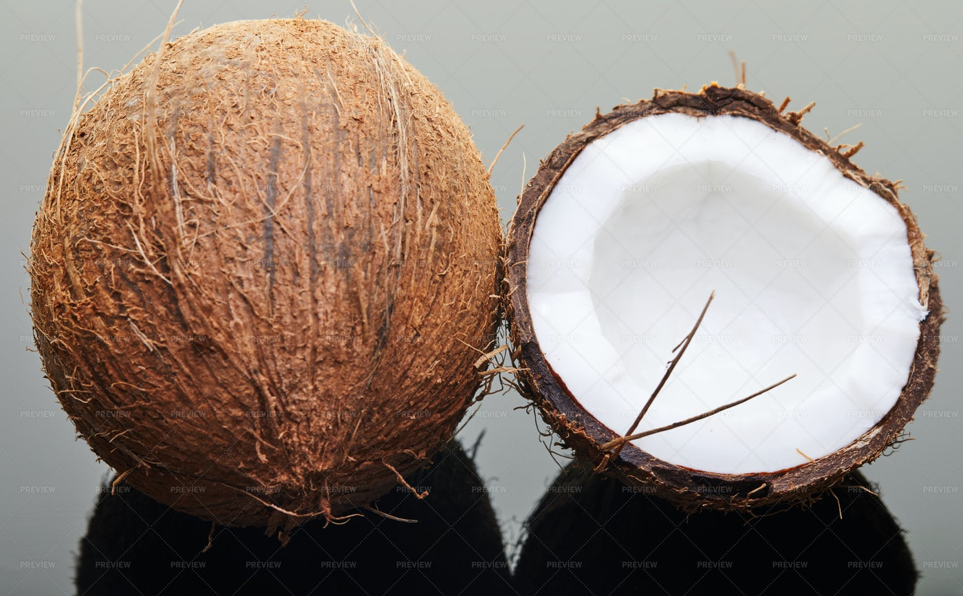Whole And Halved Coconut: Stock Photos