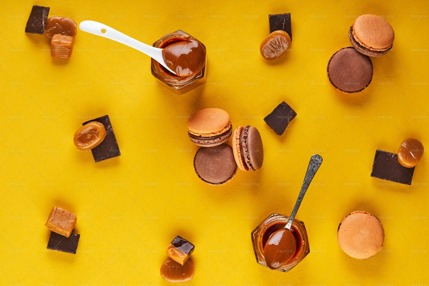 Macaroons, Chocolate And Caramel: Stock Photos