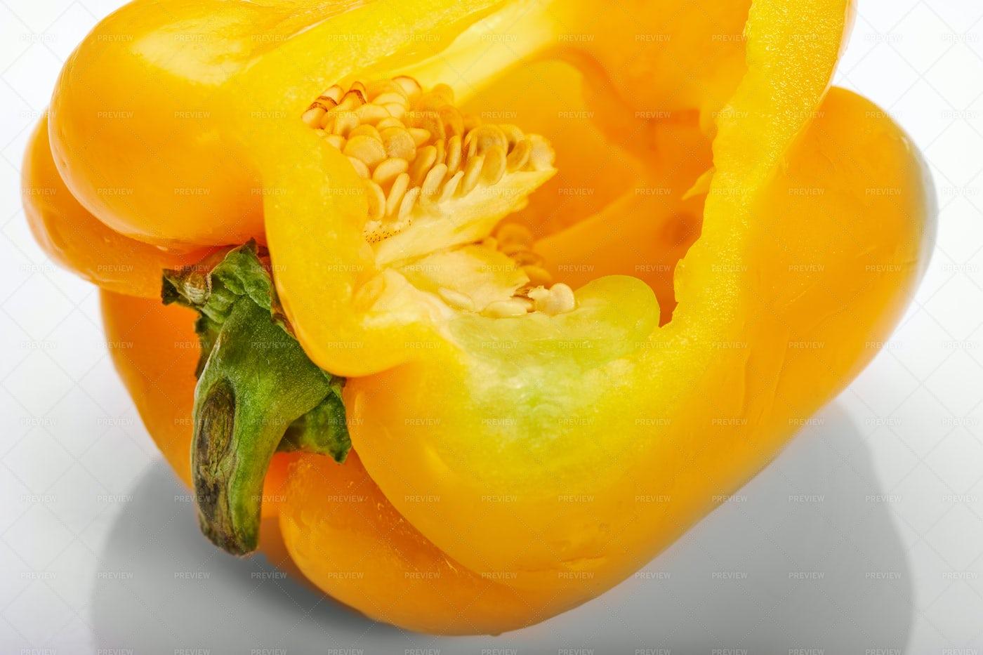 Yellow Bell Pepper Cut: Stock Photos