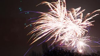Fireworks Display On Dark Background: Stock Footage