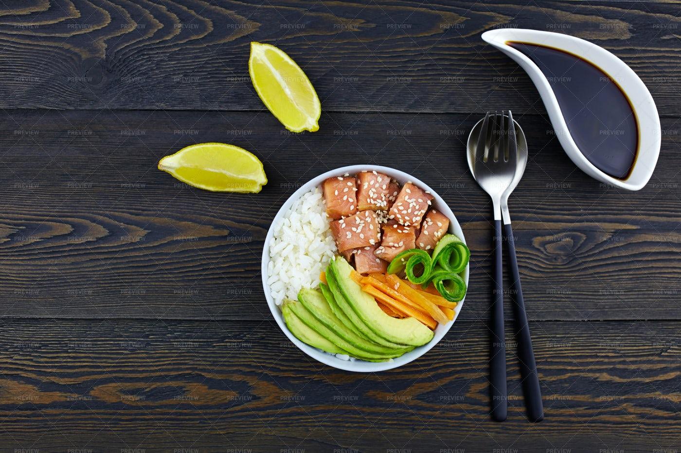 Poke Bowl With Salmon: Stock Photos