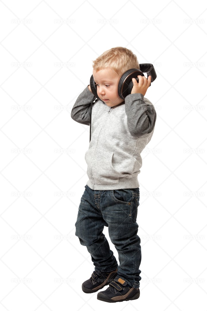 Little Boy With Headphones: Stock Photos