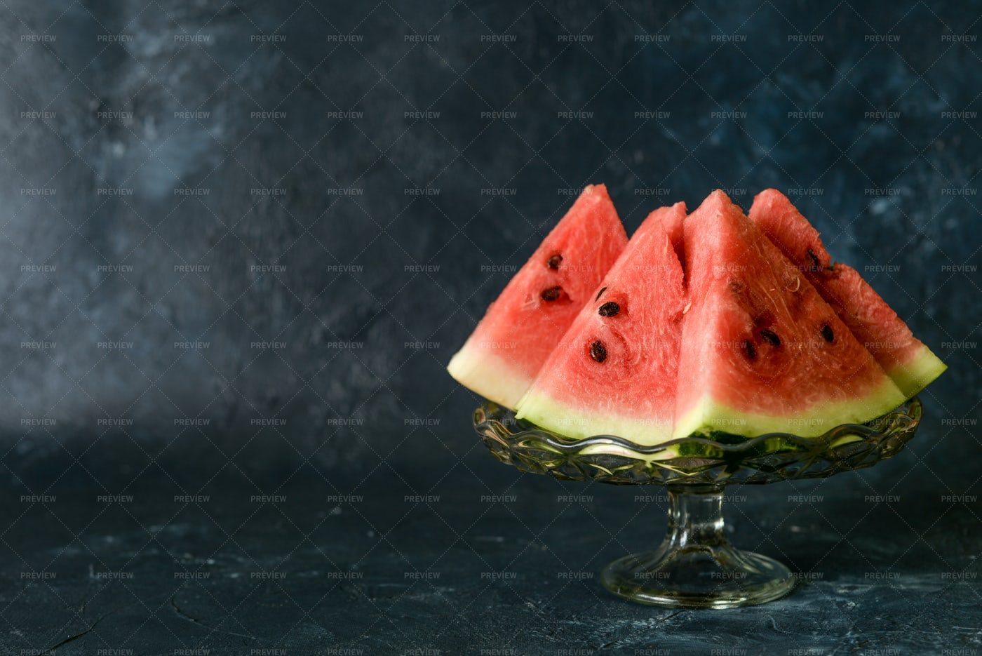 Watermelon In Glass Dish Background: Stock Photos