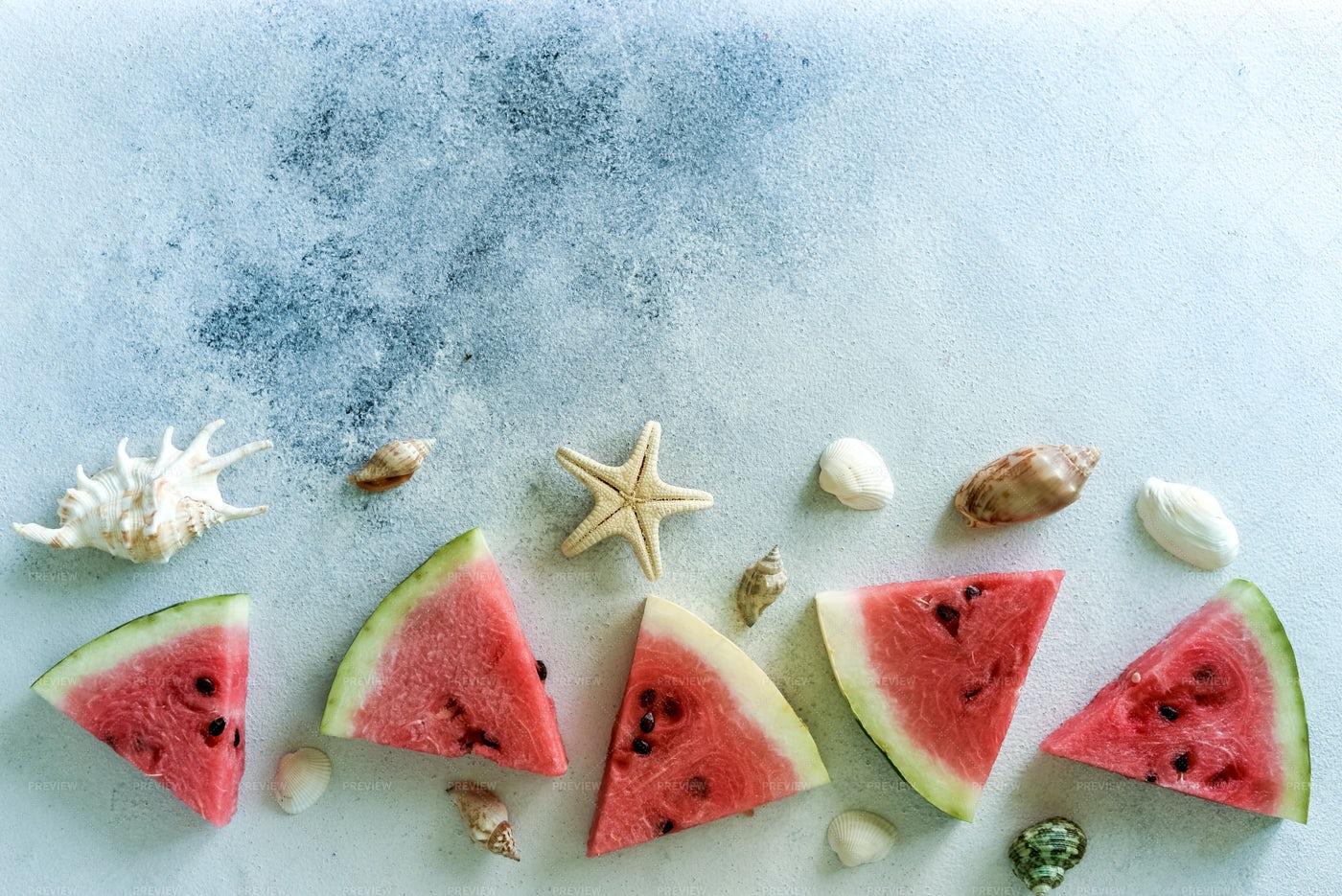 Summer Watermelon Beach Background: Stock Photos