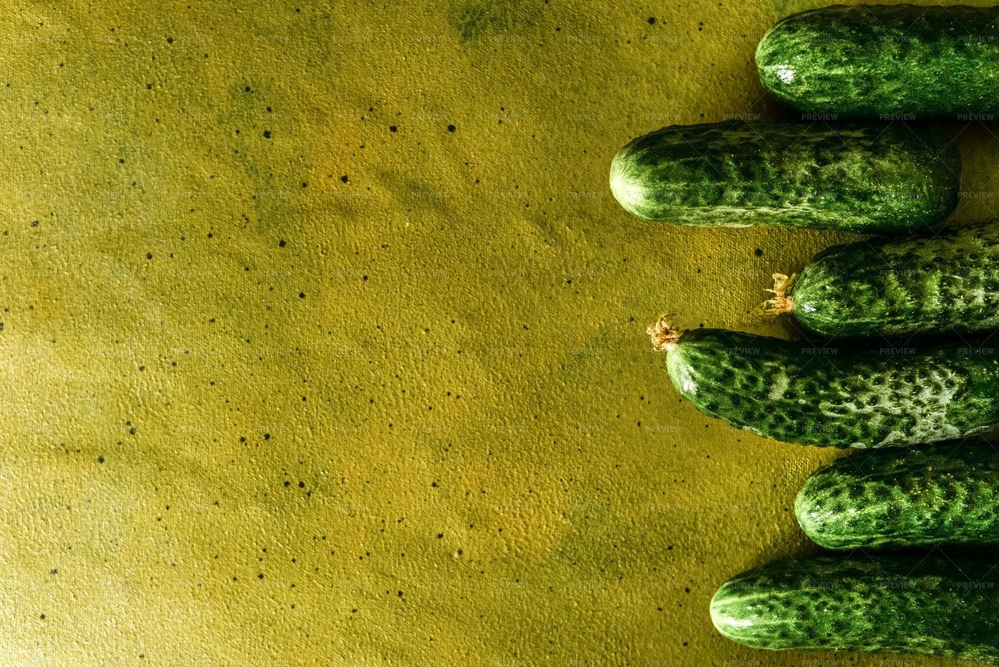 Green Cucumbers Background: Stock Photos