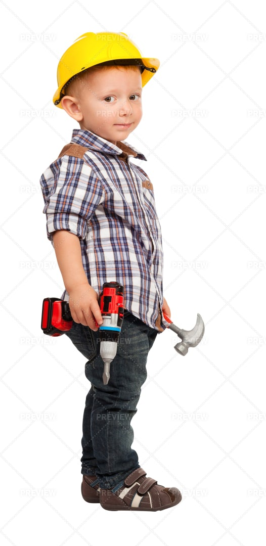 Little Handyman With Tools: Stock Photos