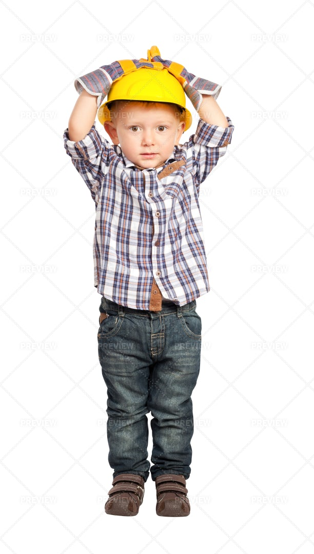 Little Handyman In Construction Helmet: Stock Photos