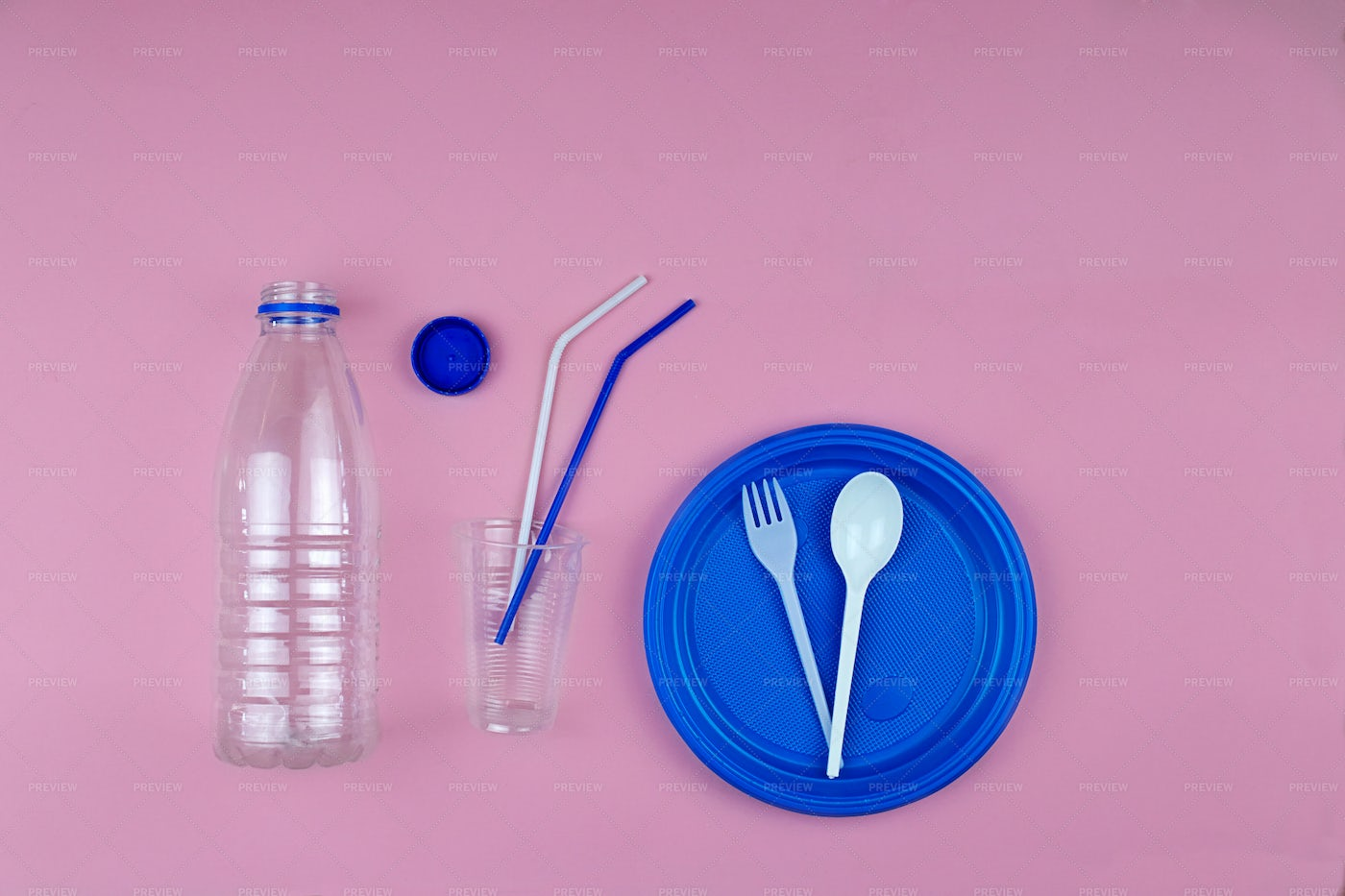 Plastic Tableware Recycle Background: Stock Photos