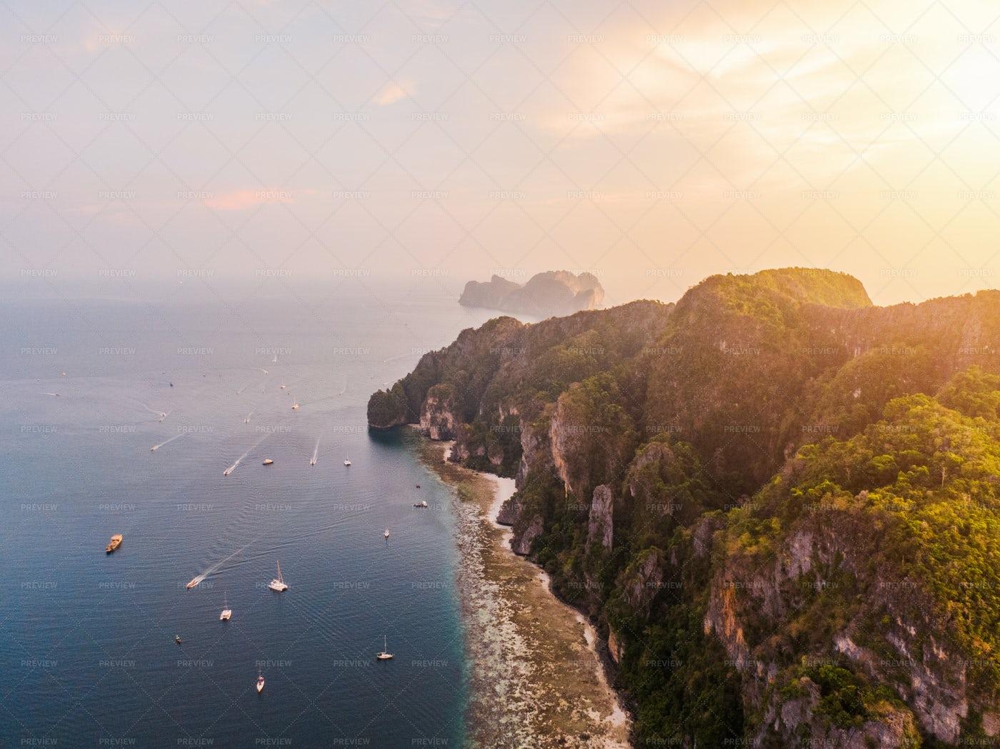 Sunset Over Phi Phi Island: Stock Photos