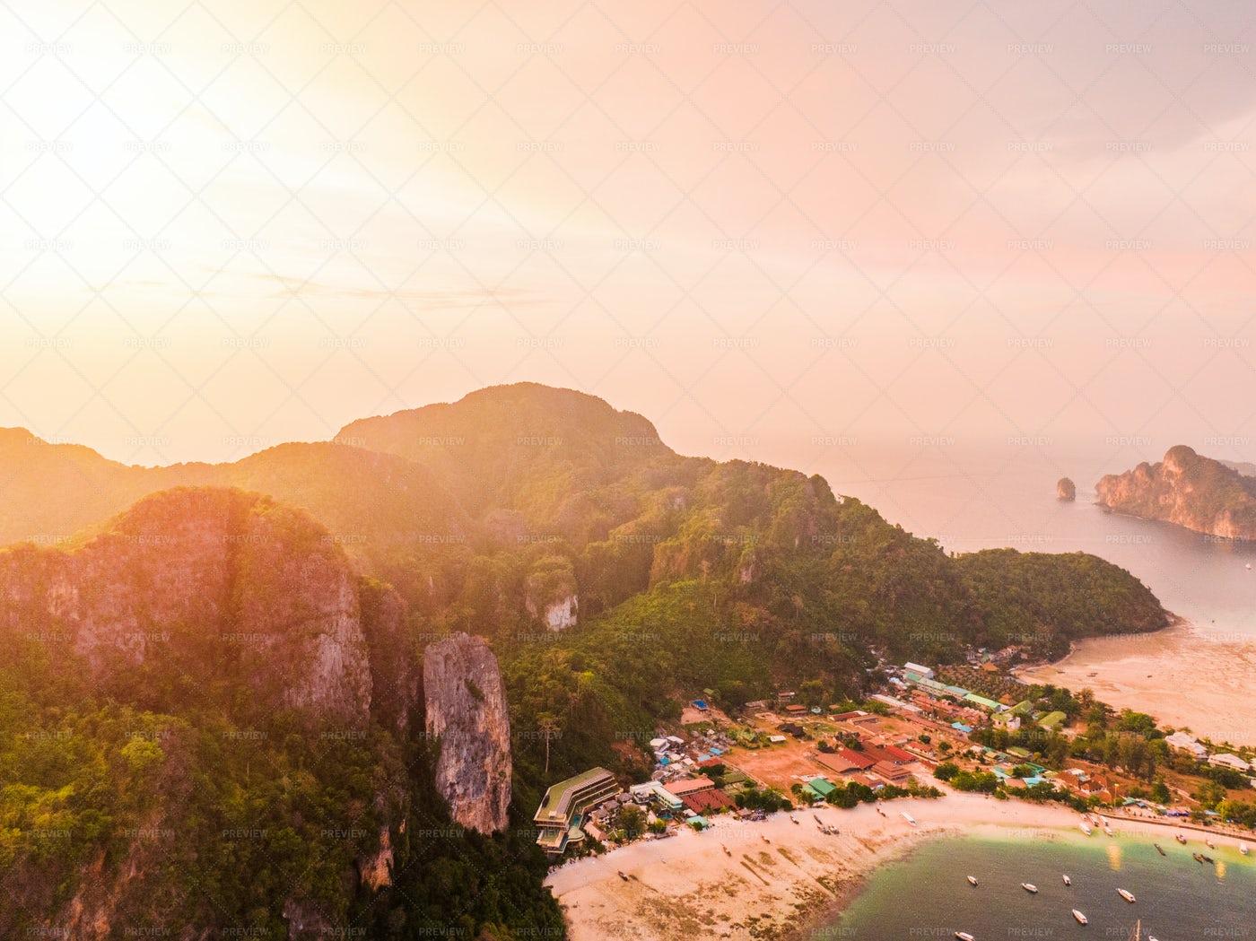 Sunset On Phi Phi Island, Thailand: Stock Photos
