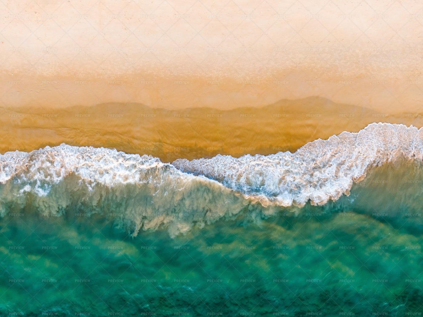 Sandy Beach And Emerald Ocean Top View: Stock Photos