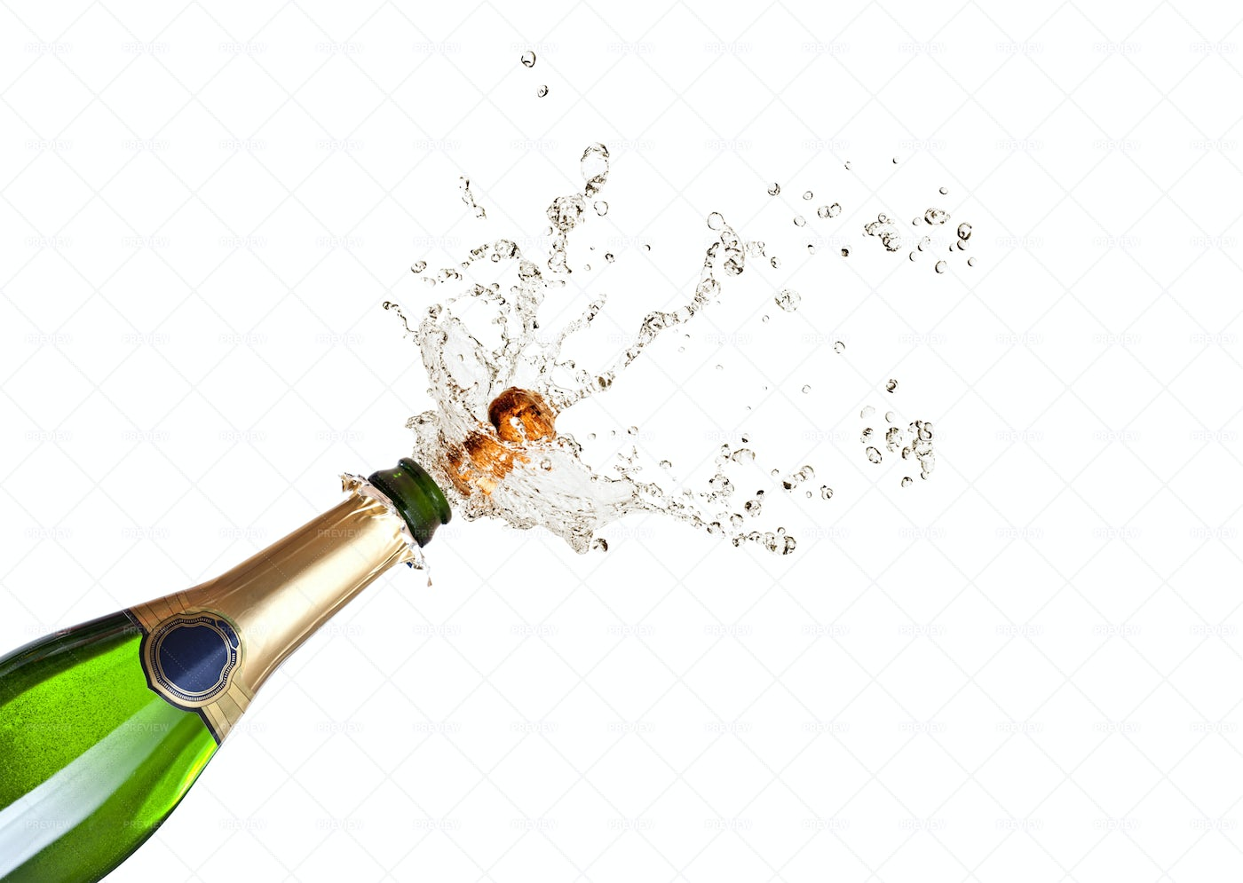 Popping Champagne Cork On White: Stock Photos