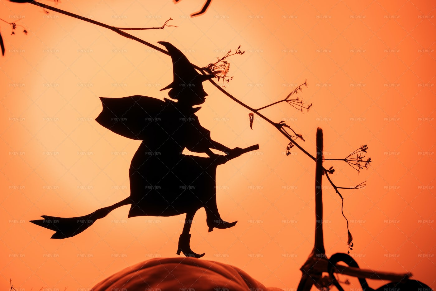 Black Paper Witch Halloween Silhouette: Stock Photos