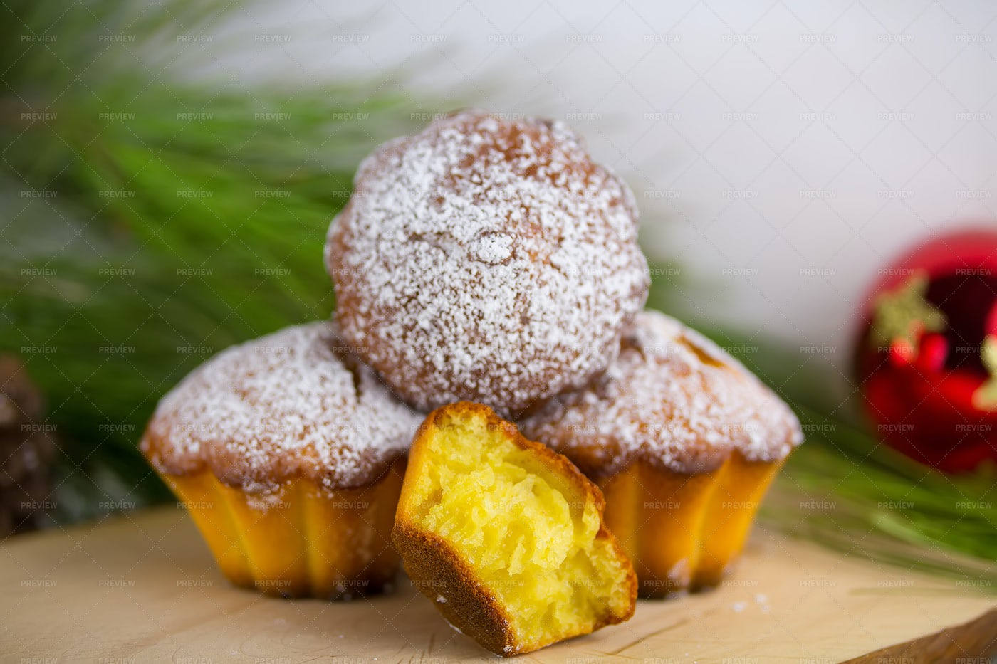 Christmas Muffins With Pine Branches: Stock Photos