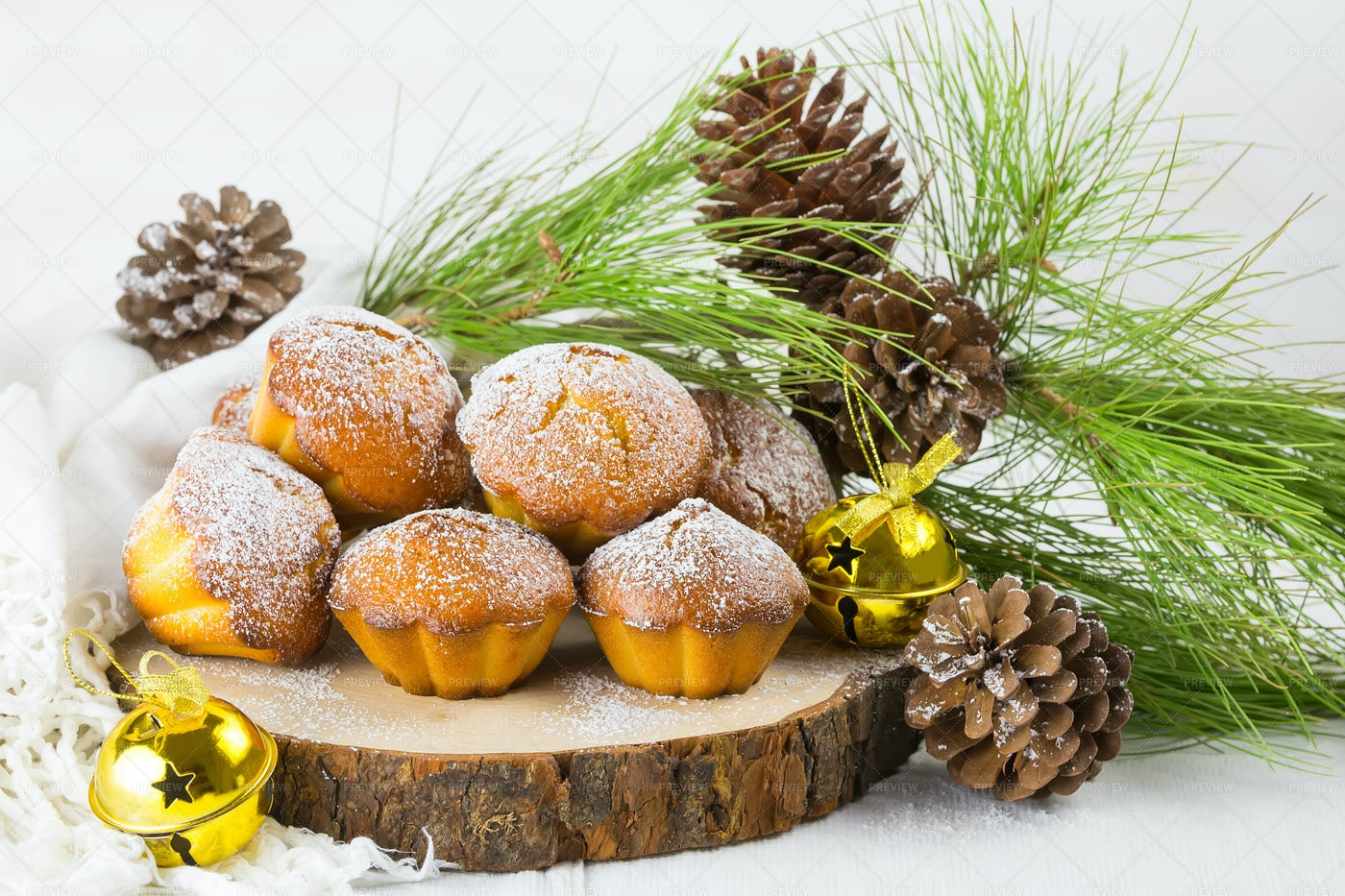 Christmas Muffins In Holiday Setting: Stock Photos
