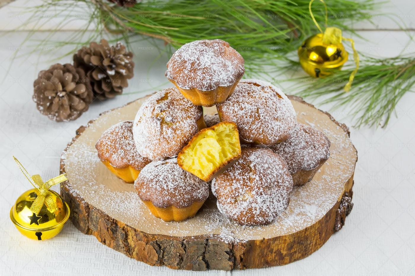 Homemade Christmas Muffins: Stock Photos